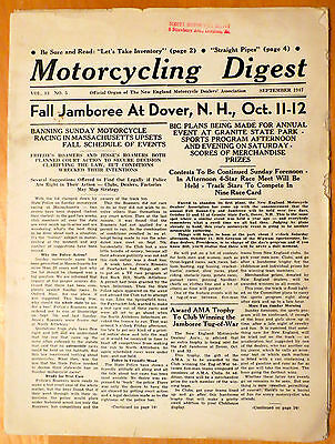 September 1947 Motorcycling Digest Loaded w/Harley Davidson Indian Ads
