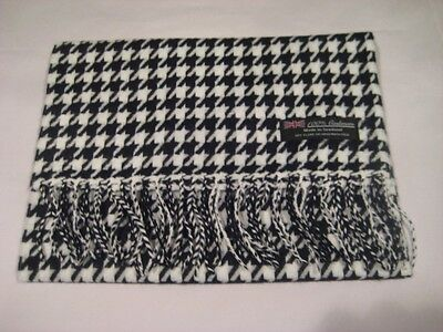 New 100% Cashmere WHITE BLACK HOUNDSTOOTH Scarf Made in Scotland Wool B1