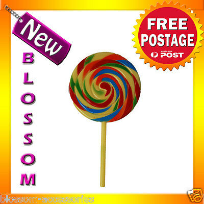 AS9 Plastic Clown Shirley Temple Lollipop Costume Candy Rainbow Accessory