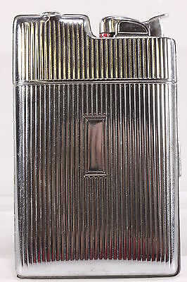 Evans Combination Lighter & Cigarette Case Silvertone Metal Art Deco Style