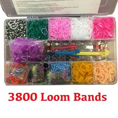 3800 Loom Bracelet Jewellery Maker Rainbow Rubber Bands w 10 Charms Monster Pack