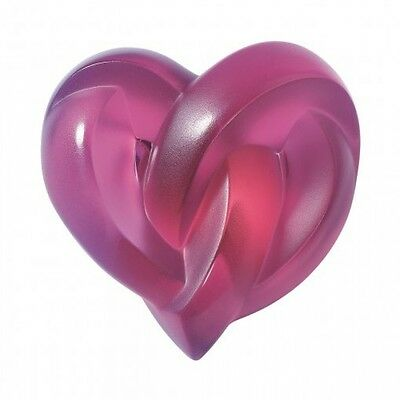 Lalique #1184720 Hearts Paperweight Brand Nib Fuschia Crystal French Love Free S