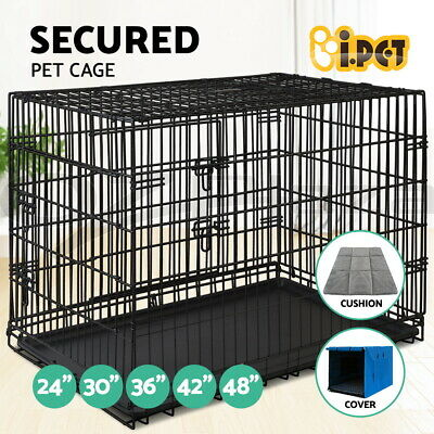"24"" 30"" 36"" 42"" 48"" Dog Pet Cage Kennel Cat Collapsible Metal Crate Tray 3 Doors"