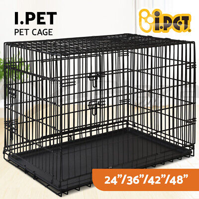 "i.Pet Pet Dog Cage Crate Kennel Cat Collapsible Metal Cages 24""~ 48"" Playpen"