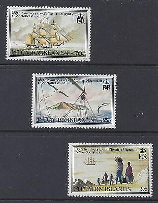 1981 PITCAIRN ISLANDS 125th ANNIVERSARY OF MIGRATION SET OF 3 FINE MINT MUH/MNH