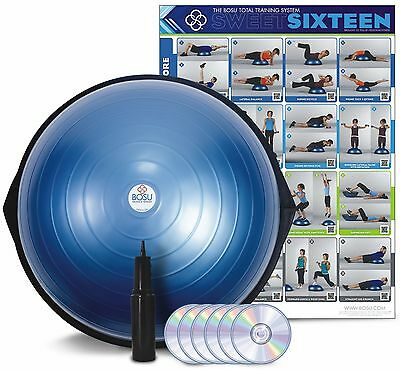 Bosu Ball Home Balance Trainer Blue 65cm w/ 6 Workout DVD's Wall Chart & Pump