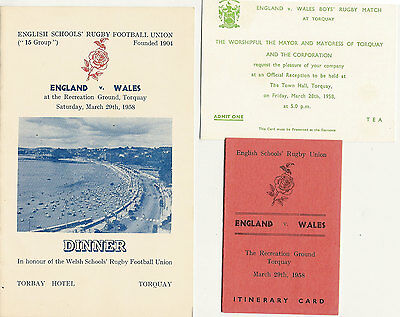 England v Wales  (Schools Under 16) 29 Mar 1958 RUGBY DINNER MENU CARD - TORQUAY