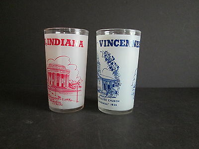 2 Vintage VINCENNES INDIANA Frosted Souvenir Glass Red & Blue Francis Xavier ++