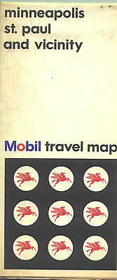 1966 Mobil Minneapolis/St. Paul Vintage Road Map