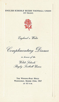 England v Wales  (Schools Under 16) 22 Mar 1967 RUGBY DINNER MENU CARD