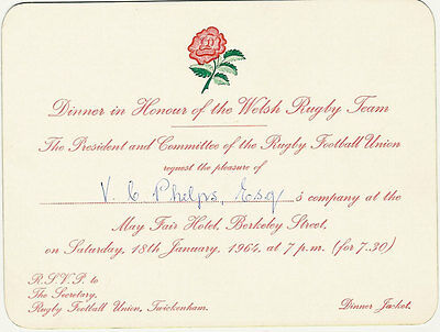 England v Wales 18 Jan 1964 RUGBY DINNER INVITATION CARD