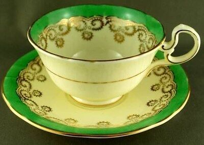 Aynsley Green Trim  Floral Cup & Saucer