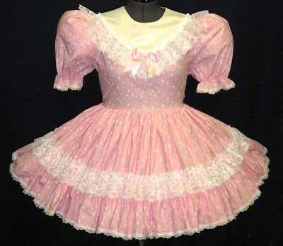 Custom Fit* Sparkle PINK Adult Baby Sissy Dress LEANNE
