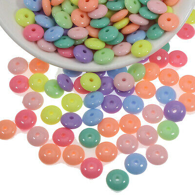 200 Mixed Pastel Color Acrylic Flat Round disc Beads 10X4mm Spacer Beads