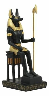 Ancient Egyptian God Anubis Sitting On Throne Statue Deity Lord of The Afterlife