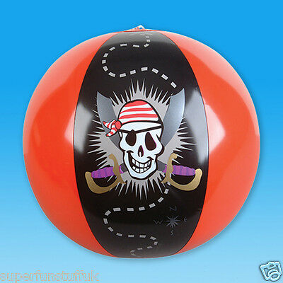 16 INCH INFLATABLE BLOW UP NOVELTY PIRATE SKULL BEACH BALL THEMED PARTY TOY