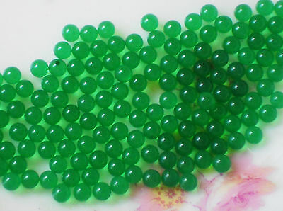 #1124 Vintage Glass Balls 3mm Eyes Emerald Round No Hole Marbles Solid NOS Green