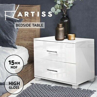 Bedside Table Cabinet High Gloss Chest 2 Drawers Lamp Side Nightstand WH