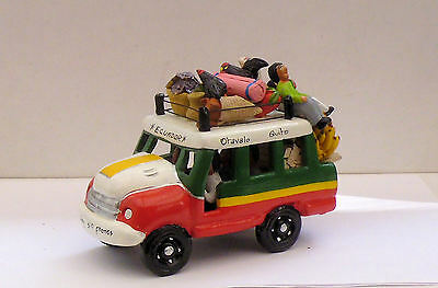 South American Ceramic Bus Ecuador Red/white/green Very Colourful