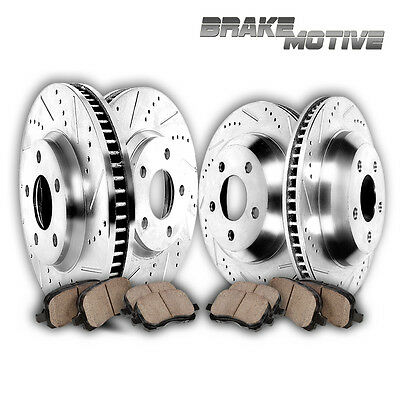 FRONT+REAR 4 PERFORMANCE DRILLED SLOTTED BRAKE ROTORS AND 8 CERAMIC PADS M370506