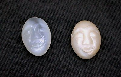 15.29 Carats Two Oval Carved Moonstone Face Faces Cab Cabochon Gemstone ebs6281
