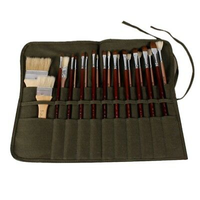Artist Watercolor Draw Pen Oil Paint Roll Up Canvas Cases Holder Pouch Brush Bag
