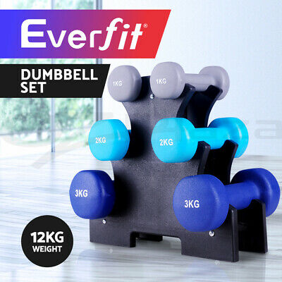 Everfit Dumbbell Weights Rack Set 6 Hand 12kg Exercise Fitness Gym Dumbells