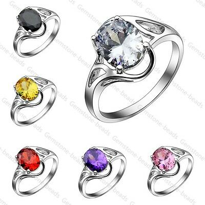 Big CZ Crystal White Gold Plated Women Finger Ring Party Promise Wedding Gift