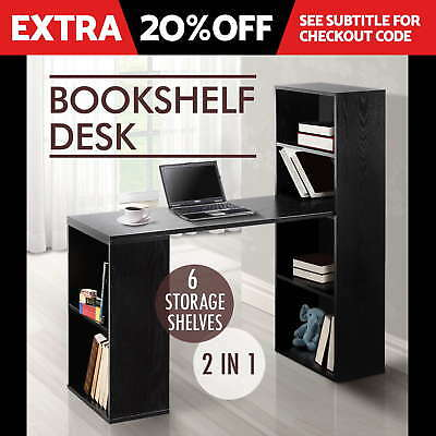 Office Computer Desk Table 6 Storage Shelf Bookcase Student Study Drawer Black