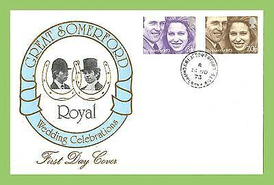 G.B. 1973 Royal Wedding set on Great Somerford First Day Cover, cds cancel