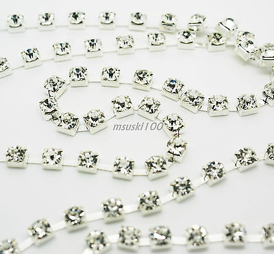 Diamante Chain Crystal Bead Glass Clear Rhinestone Silver Trim Cake Wedding New