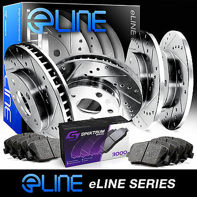 """[FRONT+REAR KIT] ELINE """"DRILLED AND SLOTTED"""" BRAKE ROTORS & CERAMIC PADS RA25004"""
