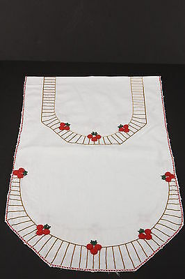 Hand Embroidered Vintage Table Runner Dresser Scarf W/ Red Cherries Design