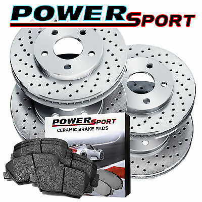 [Front+Rear Kit]   POWERSPORT *DRILLED ONLY* BRAKE ROTORS + CERAMIC PADS BX17932