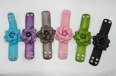 Bonded Leather FLOWER Wristband *6 COLOURS* Great fashion accessory!!!