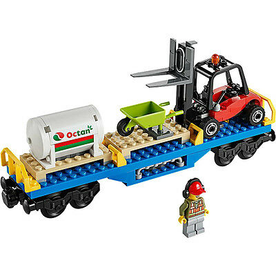 Lego Train City Cargo Freight Forklift Octan Wagon Railway Town from 60052 - NEW