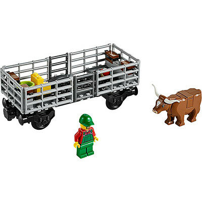 Lego Train City Cargo Freight Cow Cattle Wagon Railway Town Set from 60052 - NEW