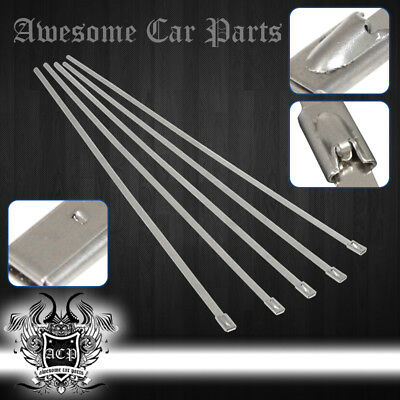 """12"""" 5Pcs Stainless Cable Zip Tie Straps Ch - Muffler Tail Pipe Piping Lock Wrap"""