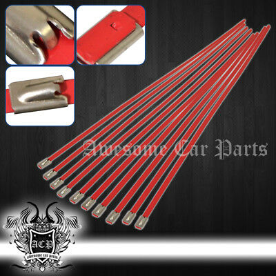"""12"""" 10Pcs Stainless Cable Zip Tie Straps Rd - Long Heavy Duty Band Exhaust Pipe"""