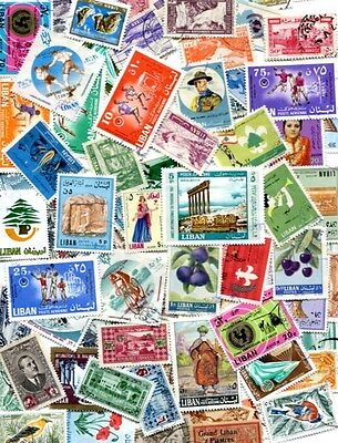 An Exotic Collection Of 100 Different Stamps From Lebanon - No Duplicates!