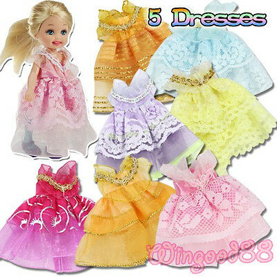 5 Sets Handmade Outfits Evening Party Dress Skirt Gown Clothes For Kelly Dolls