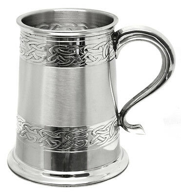 Personalised 1 Pint British Made Double Celtic Band Pewter Tankard, Engraved