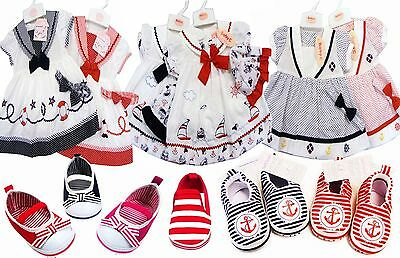Nautical Sailor Baby Girl Dress White/Navy or Red & Matching Shoes Newborn -2yrs
