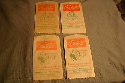 Vintage Lot of 4 1930's Coca Cola Paper No Drip Bottle Protector Bag Chicago USA