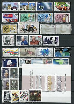 GERMANY 1986 MNH COMMEMORATIVES COMPLETE YEAR 33 Stamps + SHEET