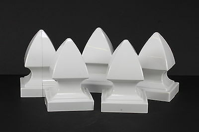 """Lot of 5 White Porch Fence Post Caps Toppers 5"""" Square Opening B55SGPC"""