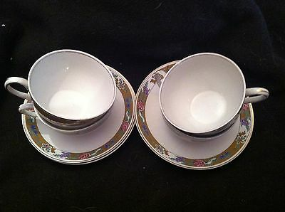 Alfred Meakin Tea Cups & Saucers - Set of 4! Asian Poppy & Floral Pattern