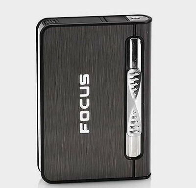Black 2 in 1 Focus Automatic Ejection Cigarette Case With Fill Butane Lighter