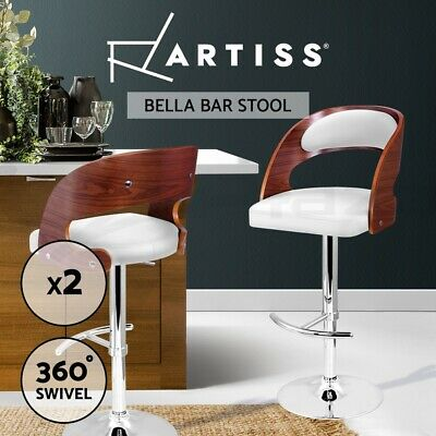 2x Wooden Bar Stool Barstool Kitchen Dining Chair Gas Lift Bella 8065 White
