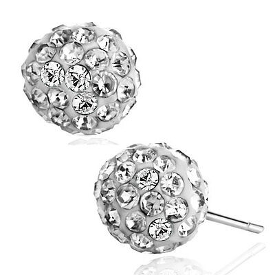 Pugster® Adorable White Crystal Ball April Birthstone Stud Glam Earrings A01